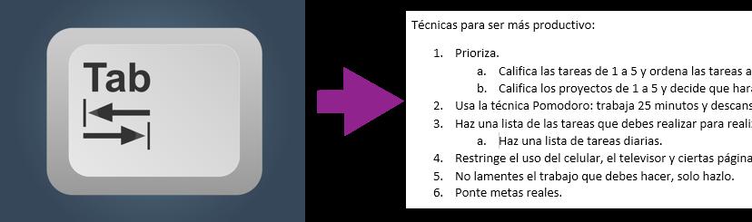 Vista de cómo hacer una lista multinivel con la tecla Tab.