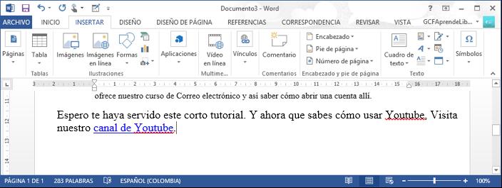 Vista de un hipervínculo en un documento de Word 2013.