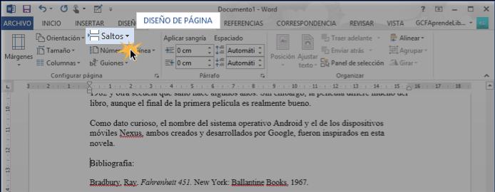 Vista de la opción Saltos en la pestaña Diseño de página.