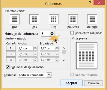 Vista del cuadro de diálogo para ajustar el número de columnas.