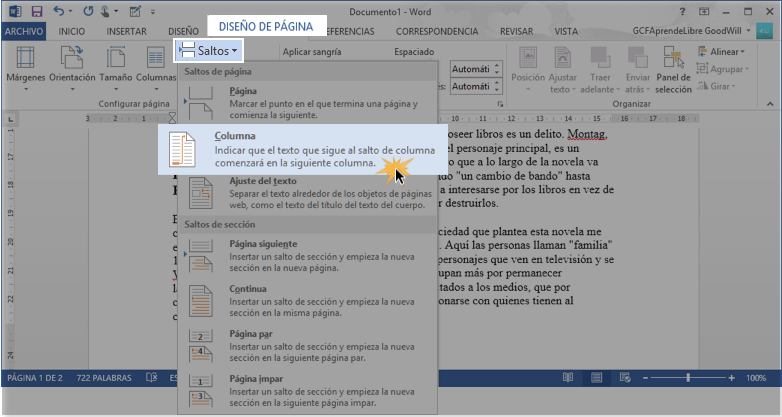 Vista de cómo añadir un salto de columna en Word 2013.