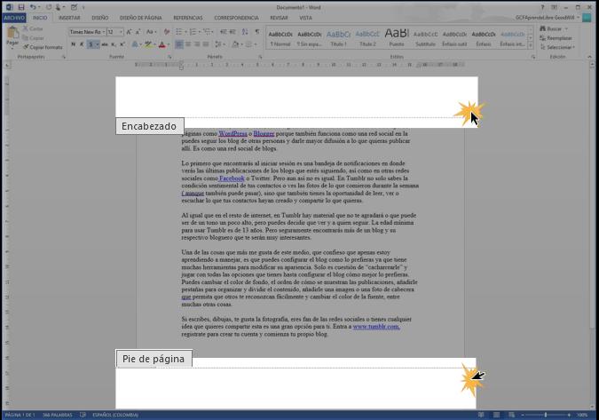 Imagen ejemplo de un encabezado y un pie de página.