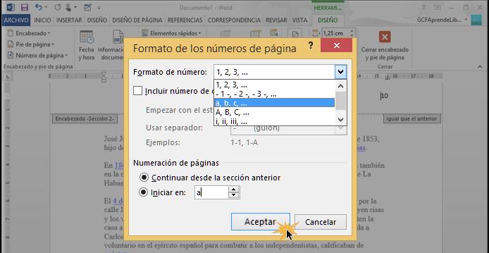 Vista del cuadro de diálogo Formato de los números de página.