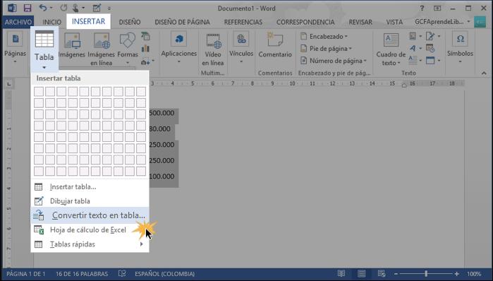 Vista de la opción Convertir texto en tabla del menú del comando Tabla.
