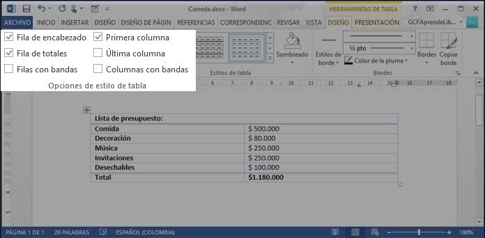 Vista de las opciones para modificar las características del estilo de la tabla de Word 2013.