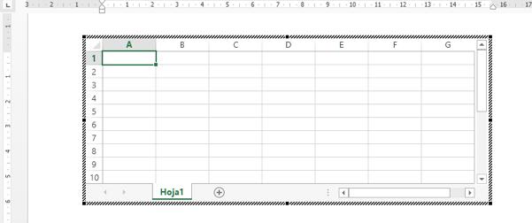 Vista de la Hoja de cálculo en el documento de Word 2013.
