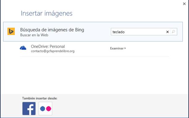 Vista del cuadro de diálogo y la barra de Búsqueda de imágenes de Bing.
