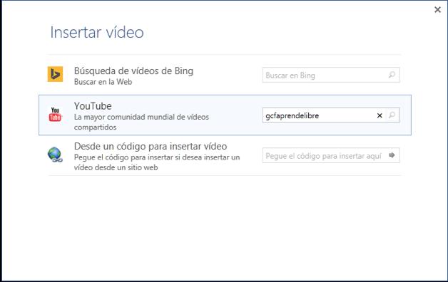 Vista del cuadro de diálogo y las opciones Búsqueda de vídeos de Bing y Youtube.