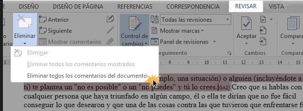 Vista de menú desplegable del comando Eliminar y la opción Eliminar todos los comentarios del documento.