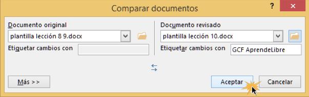 Vista del cuadro de diálogo Comparar documentos y el botón Aceptar.