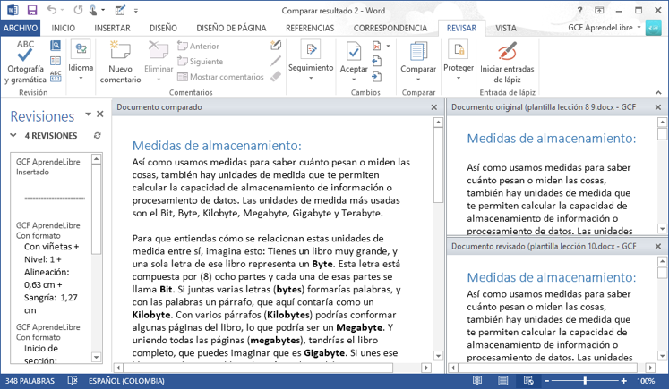 Vista de cómo se ven dos versiones de un documento comparadas en Word
