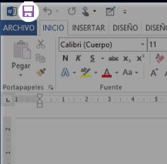 Vista del botón Guardar en la barra de herramientas de acceso rápido.