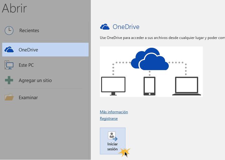 Abrir una cuenta de OneDrive.