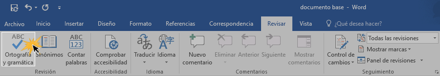 Hacer clic en el botón Ortografía y gramática para activar esta función.