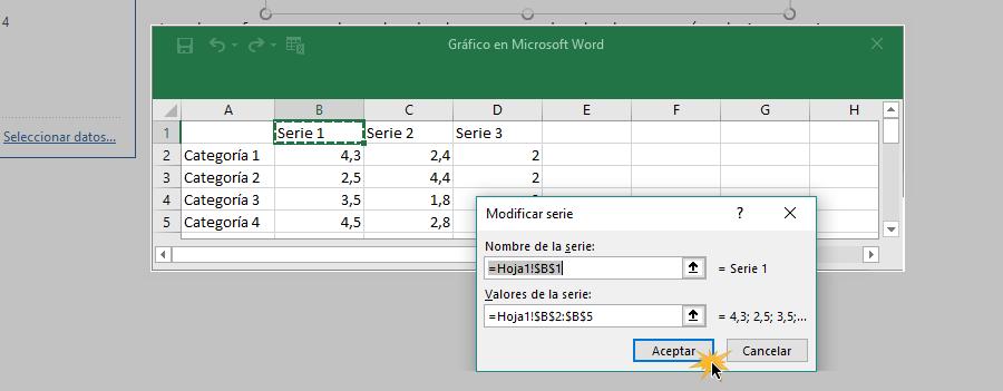 Ingresar datos en campos de valores para configurar tabla.