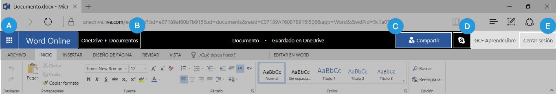 Barra de funciones en línea de Word Online.