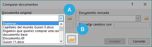 Opciones para buscar documento.