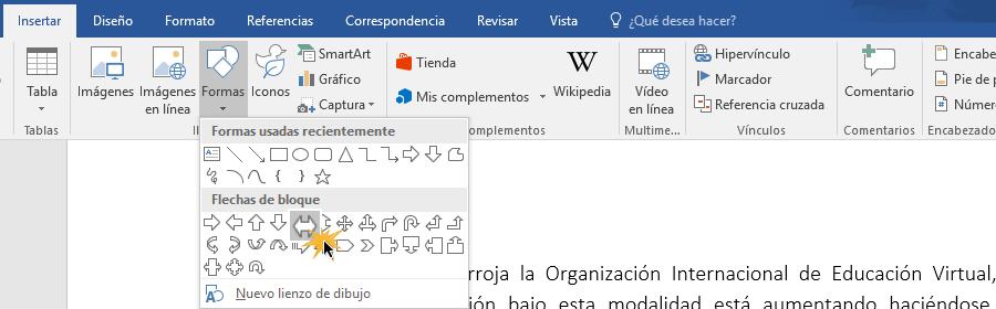 Insertar una forma en un documento de Word.