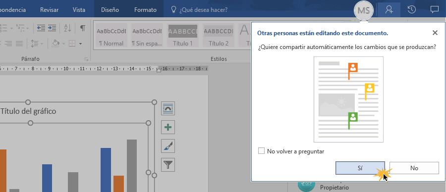 Establecer tipo de modificación en documento compartido.