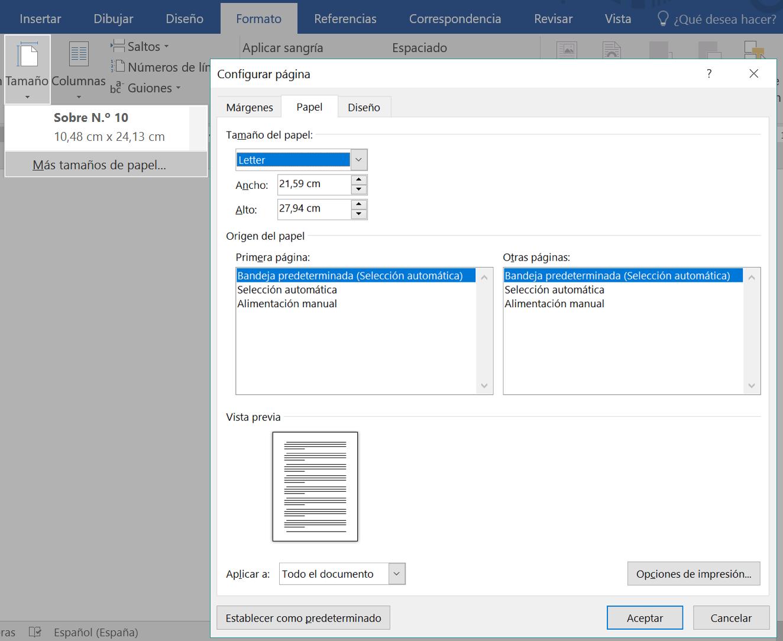 Panel Configurar página para personalizar tamaño de página.
