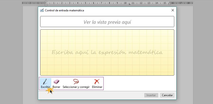 Opción Escribir para dibujar fórmula matemática.
