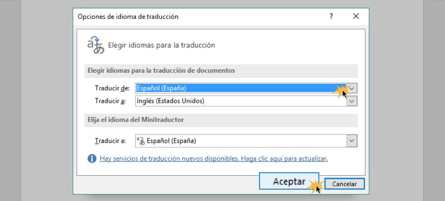 Cuadro de ajustes para elegir idioma de traducción.