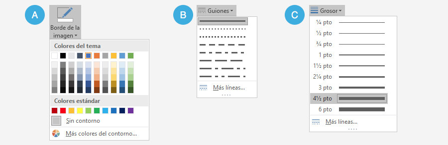 Opciones de configuración de bordes.