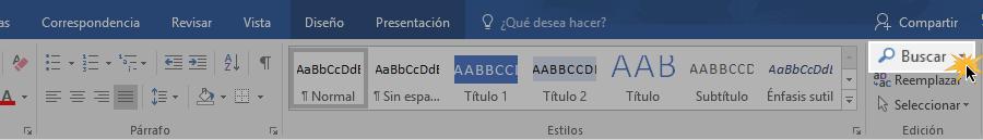 Función Buscar ubicada en la cinta de opciones de Word 2016.