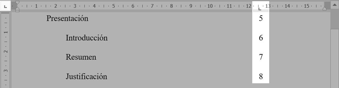 Indice de tabulación