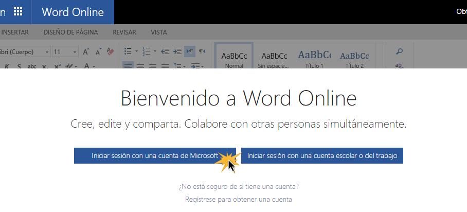 Iniciar sesión con una cuenta Microsoft para ingresar a Word Online.