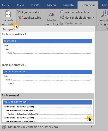 Insertar tabla de contenido.