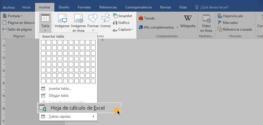 Insertar hoja de cálculo de Excel en Word.