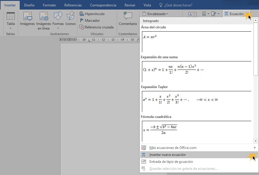 Hacer clic sobre opción Insertar nueva ecuación del menú de opciones Ecuación.