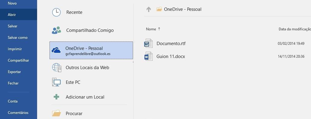 Abrir uma conta do OneDrive.