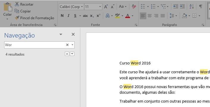Painel de navegação para buscar texto no documento.