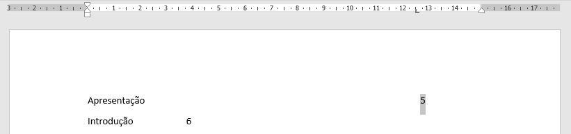 Aparência final do texto com as tabulações.