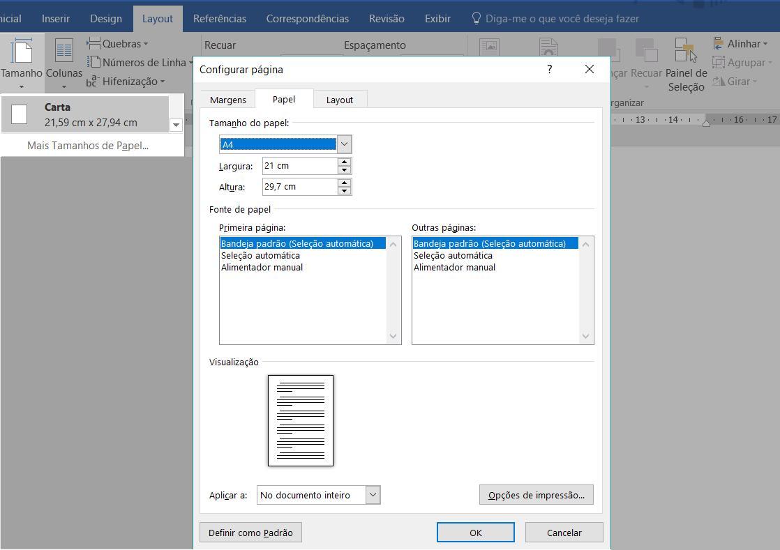 Painel Configuração de página para personalizar o tamanho de página.