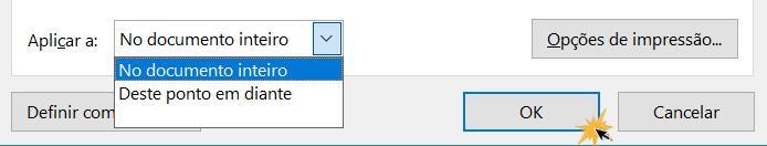 Aplicar mudanças a página e OK.