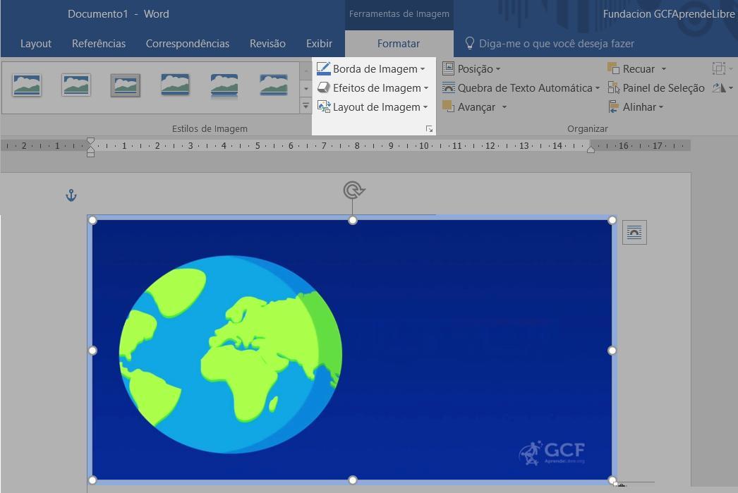 O grupo borda da guia Formatar possui as ferramentas de imagem.