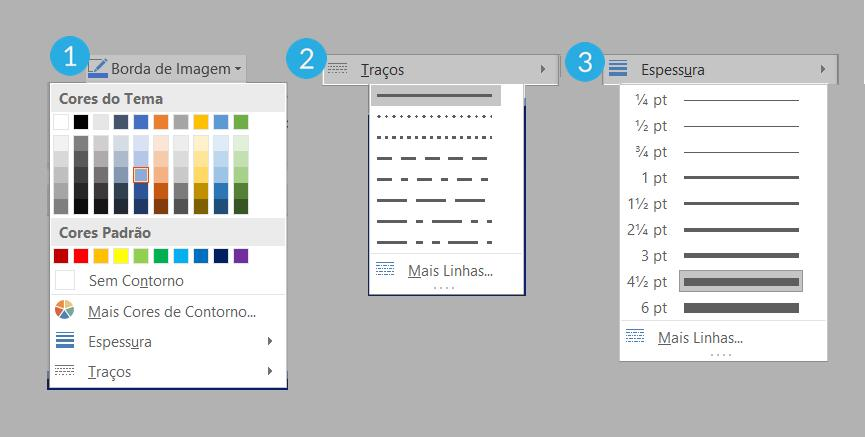 Opções de configuração de bordas.