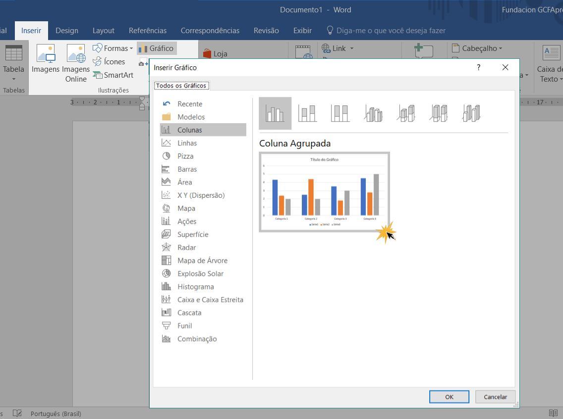 Inserir gráfico num documento.