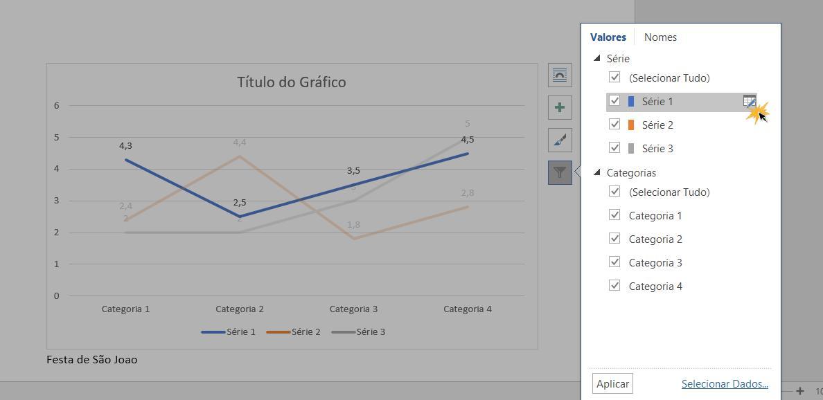 Ajustar os valores do gráfico.