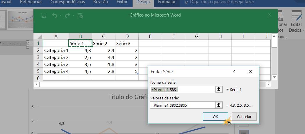 Inserir dados nos campos de valores para configurar a tabela.