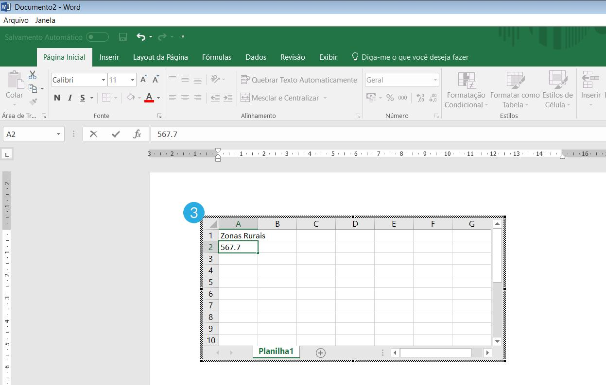 Inserir planilha do Excel no Word.