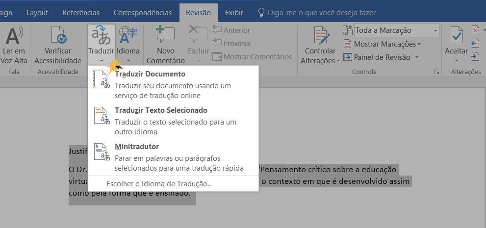 Opções de tradução do documento do Word 2016.