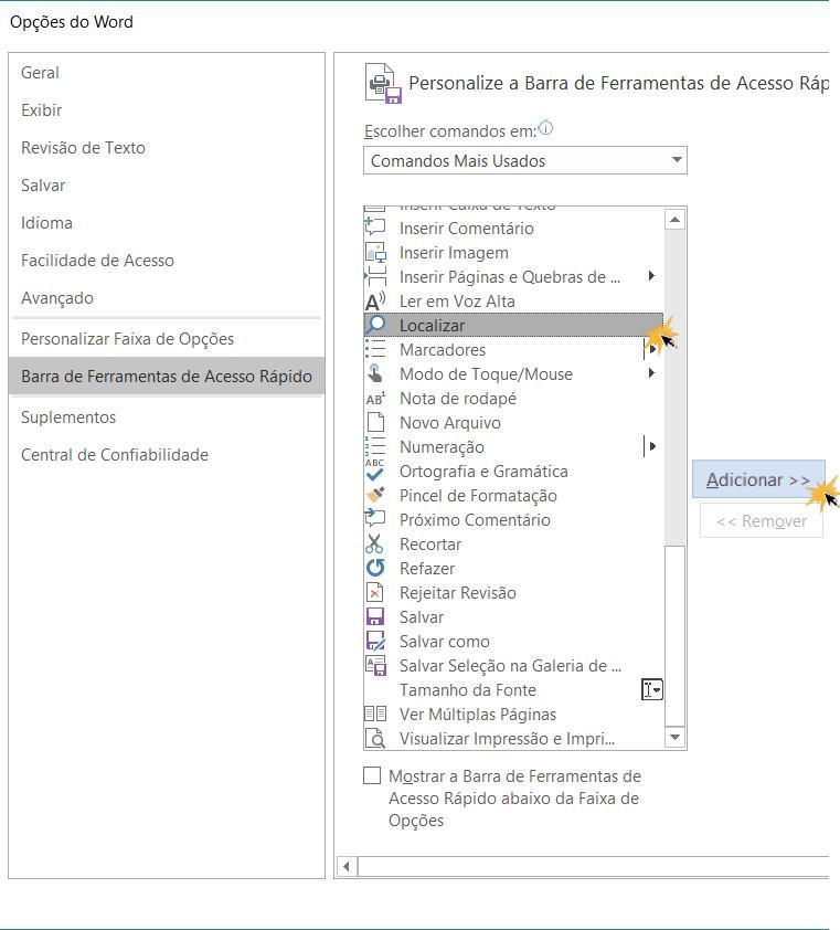 Agregar função à barra de acesso rápido desde o início Opciones de Word.