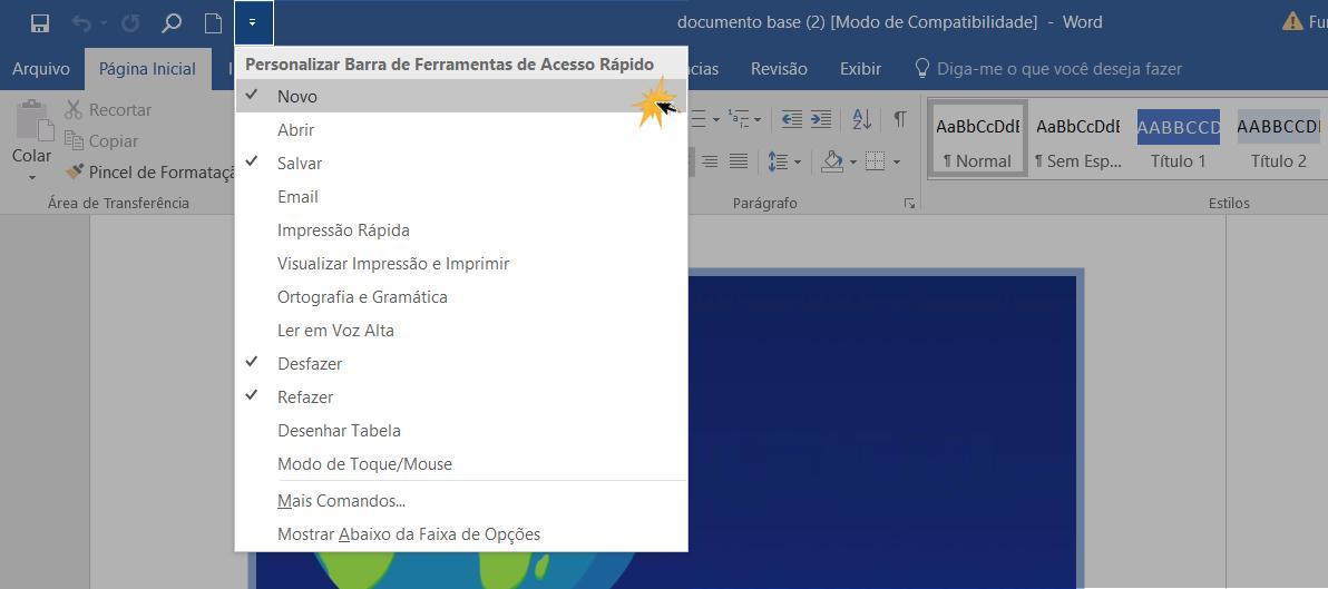 Selecione a função para desativa-la da barra de ferramentas de acesso rápido.