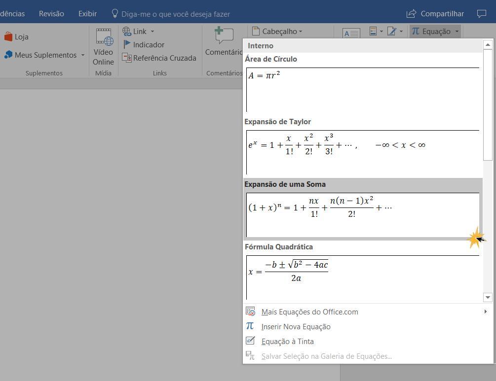Clique sobre a fórmula matemática do menu de opções na função Equação.