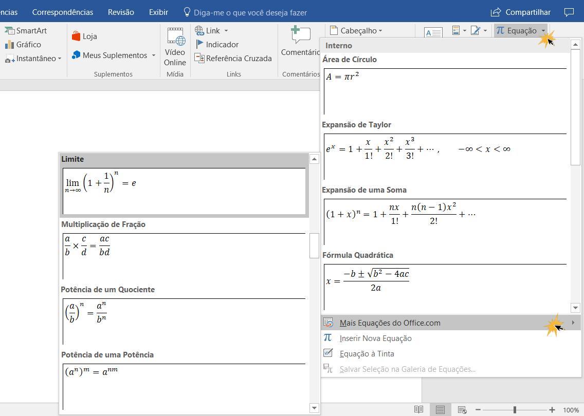 Mais Equações do Office
