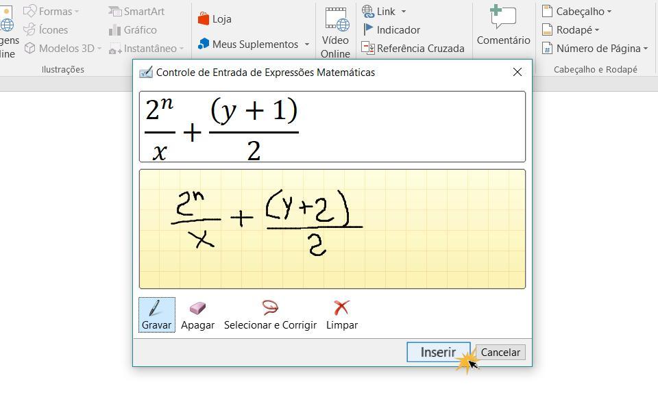 Inserir uma equação no seu documento.